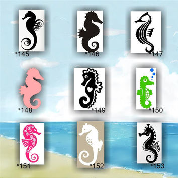 SEAHORSES vinyl decals - #145-153 - custom car window stickers- car decal - vinyl sticker - tropical car decals - ocean life stickers