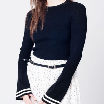 Black knitted sweater with contrast border and bell sleeves