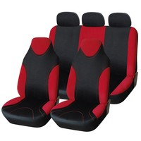 Adeco 7-Piece Car Vehicle Protective Seat Covers, Universal Fit, Black/Red