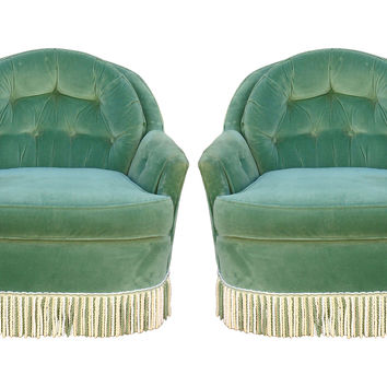 Tufted-Back Swivel Chairs, Pair