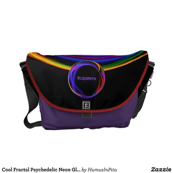 Cool Fractal Psychedelic Neon Glow Abstract Ball Messenger Bag