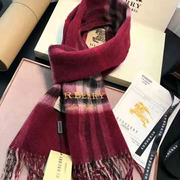 BURBERRY Classic Fashionable Couple Comfortable Plaid Letter Embroidery Cashmere Cape Scarf Scarves Shawl Accessories