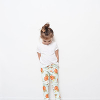 Minty Hue Floral Organic Knit Toddler Leggings // Newborn-6t