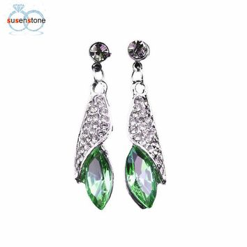 SUSENSTONE Hot Stately Art Form Earrings Crystal Drop Earrings