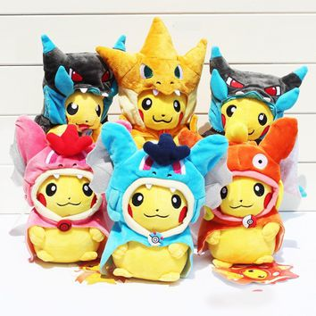 20-25cm Pikachu Cosplay X Charizard Magikarp Charmander Brinquedo Plush Toys Fashion Stuffed Animals Toy Doll