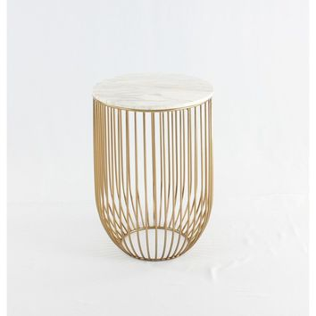 Mie Side Table - Carrara Marble Top & Gold Base | GFURN