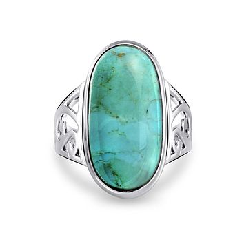 Bezel Oval Enhanced Turquoise Ring Filigree Band 925 Sterling Silver
