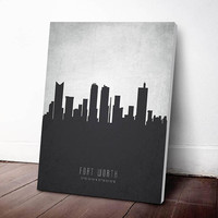 Fort Worth Skyline Canvas Print, Fort Worth Cityscape,Fort Worth Art Print,Fort Worth Decor Home Decor, Gift Idea, USTXFW19C