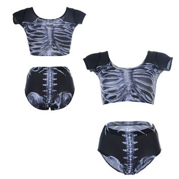 Costume Skulls Bikini Short Sleeve Swimsuit 2 Piece High Waist Triangle Bottom Beachwear Black White Skeleton Swimwear Crop Top