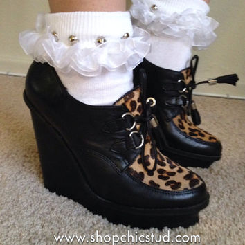 Studded Socks - White Ruffle Sock - Silver OR Gold Studs