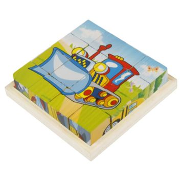 Educational Toy 3D Wooden Puzzle for Kids Cube Puzzle Transport(2 Years and up)
