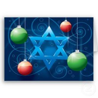 Jewish Star and Christmas Ornament Holiday card from Zazzle.com