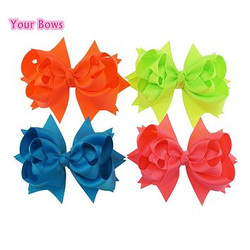 Your Bows 5 Inches Hair Bows 3 Layer Solid Ribbon Bows Hair Clips Headbands Girl Headwear Cute Hairpin Kids Hair Accessories