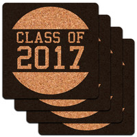 Class of 2017 Graduation Low Profile Cork Coaster Set