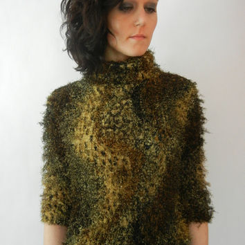 Vintage Hairy Shirt, 90's, Gold, Animal Print, Textured, Size Small, Tumblr, Turtleneck