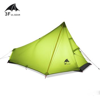 3F UL GEAR 740g Oudoor Ultralight Camping Tent 3 Season 1 Single Person Professional 15D Nylon Silicon Coating Rodless Tent