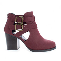 Scribe Burgundy by Soda, Burgundy Red Round Toe Dual Buckle Side Cut Out Block Stacked Heel Ankle Bootie
