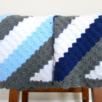 Crochet Baby Blankets for Twin Boys - Twin Boys Baby Shower Present -  Crochet Baby Afghans for Twins - Crochet Stroller Blanket for Twins