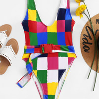 Low Back Geometric Swimsuit