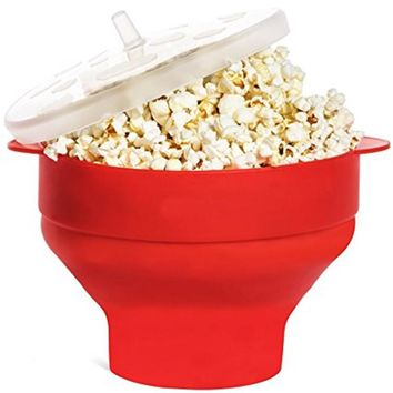 Silicone Microwave Popcorn Popper bucket with Lid, Collapsible Popcorn Maker Bowl