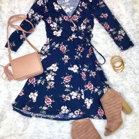 There's No Comparison Floral Dress: Navy