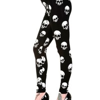 "Women's ""White Skull"" Leggings by Banned Apparel (Black)"