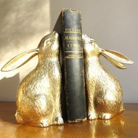 Vintage Brass Rabbit Bookends, Brass Bookends, Gold Bunny Book Ends, Pair of Bunnies, Heavy Bookends