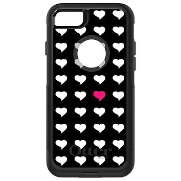 DistinctInk™ OtterBox Commuter Series Case for Apple iPhone or Samsung Galaxy - Pink White Black Repeating Hearts