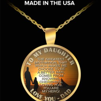 To my daughter, my hero - Love you, dad pendant necklace