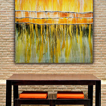 Extra Large Yellow Abstract Painting on Canvas, Free Shipping !