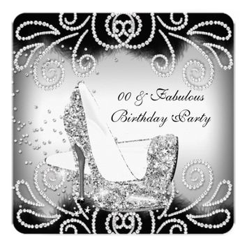 "Fabulous Silver Glitter High Heels Birthday Party 5.25"" Square Invitation Card"
