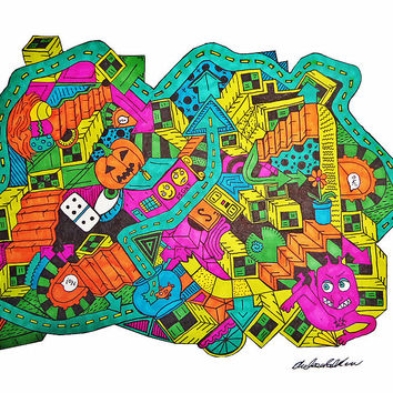 Surreal Surrealism Art Drawing Colorful Road Stairs Staircase Random Whimsical Whimsy Strange Weird Odd Peculiar