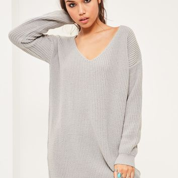 Missguided - Grey V Neck Slouch Jumper Dress
