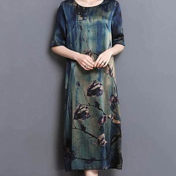 High Quality Silk Print Midi Dress LooseElegant  O-Neck Dress
