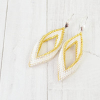 Golden earrings, white earrings, silver earrings, long earrings, woven earrings, elegant earrings, hanging earrings, beads earrings
