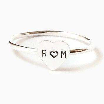 Personalized heart initial ring, stacking rings, tiny sterling silver heart, couples ring true love engraved