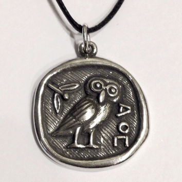 Athena Minerva Owl Coin Shaped Pendent Necklace Unisex