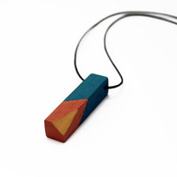 Geometric wooden necklace - mustard yellow, chocolate brown, petrol blue - minimalist, modern jewelry - color blocking