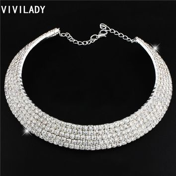 VIVILADY Romantic Cute Cubic Zirconia Statement Jewelry Chokers Chunky Necklaces Women OL Mother Day Gargantilha Accessory Gifts