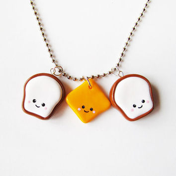 Grilled Cheese Stacking Sandwich Necklace