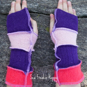 Kids Arm Warmers Fingerless Gloves for Kids Upcycled from Recycled Sweaters Jumpers Eco Friendly