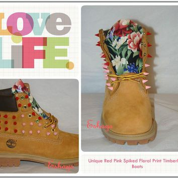 Custom Pink and Red Spiked Timberland, Asian Floral Timberland Boots