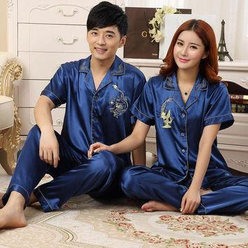 ICIKFV3 Upscale Couples Pajamas Sets Men Women Long Short Sleeve Sleepwear Long Pants Sleepwear Nightshirt Soft Faux Silk Satin Homewear