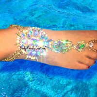 Abigail Gold Crystal Barefoot Sandals