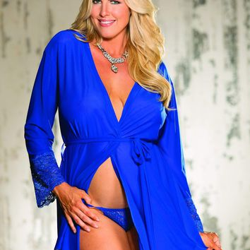 Shirley Of Hollywood Plus Size Knit & Lace Robe With Tie Belt