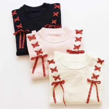 2016 Autumn new Female Soft Sister Ribbon Bow Women's Sweaters Solid Color Preppy style Mori Girl Should Bandage Lovely Sweater