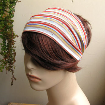 Earthy Tones Multicolor Striped Turban Wrap Headband, Women's Wide Colorful Head Wrap, Turband, Yoga Head / Hair Band, Hair Accessories