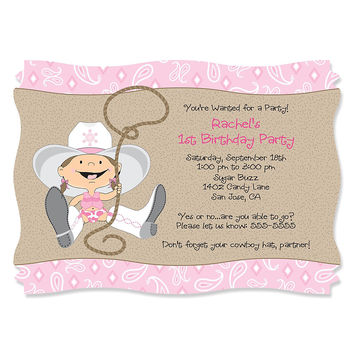 Little Cowgirl - Personalized Birthday Party Invitations