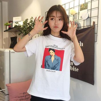 CREYCI7 2017 O-neck All Match Loose Causal College Wind Letter Cartoon Printed Short Sleeve Female T-shirts