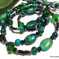 Beaded Lanyard Id Necklace Emerald Green and Black Chrysocalla Jasper Crystal Handmade Jewelry with Angel Strong Breakaway Clasp